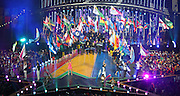 03.08.2014. Glasgow, Scotland. Glasgow Commonwealth Games. Closing Ceremony from Hampden Park. Presentation of Gold Coast with flags of all competing nations