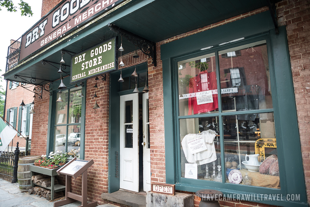 An historic dry goods store forms part of the living museum of Harpers Ferry, West Virginia.