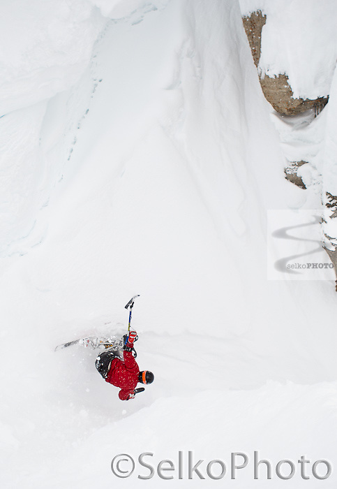 Wolrd Champion and Olympic Champion Adaptive Alpine Ski Racer Chris Devlin Young skiing Corebet's Couloir and Broadway at the Jackson Hole Mountain Resort on March 6, 2011. Chris was the first sit skier to ski Corbet's un-aided.