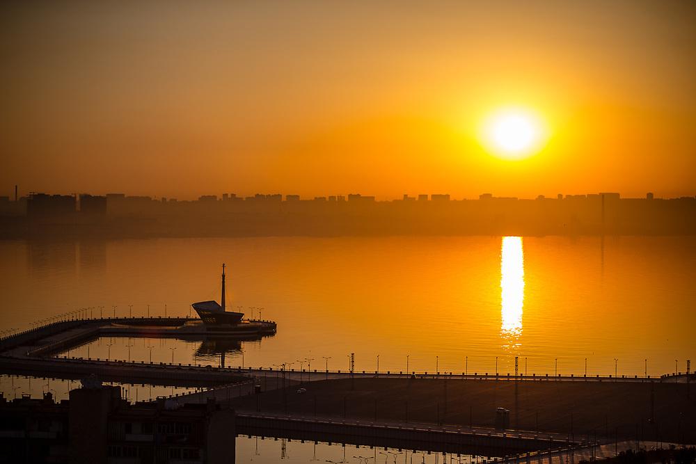 Baku sunrise at the 2018 UCI BMX World Championships in Baku, Azerbaijan.