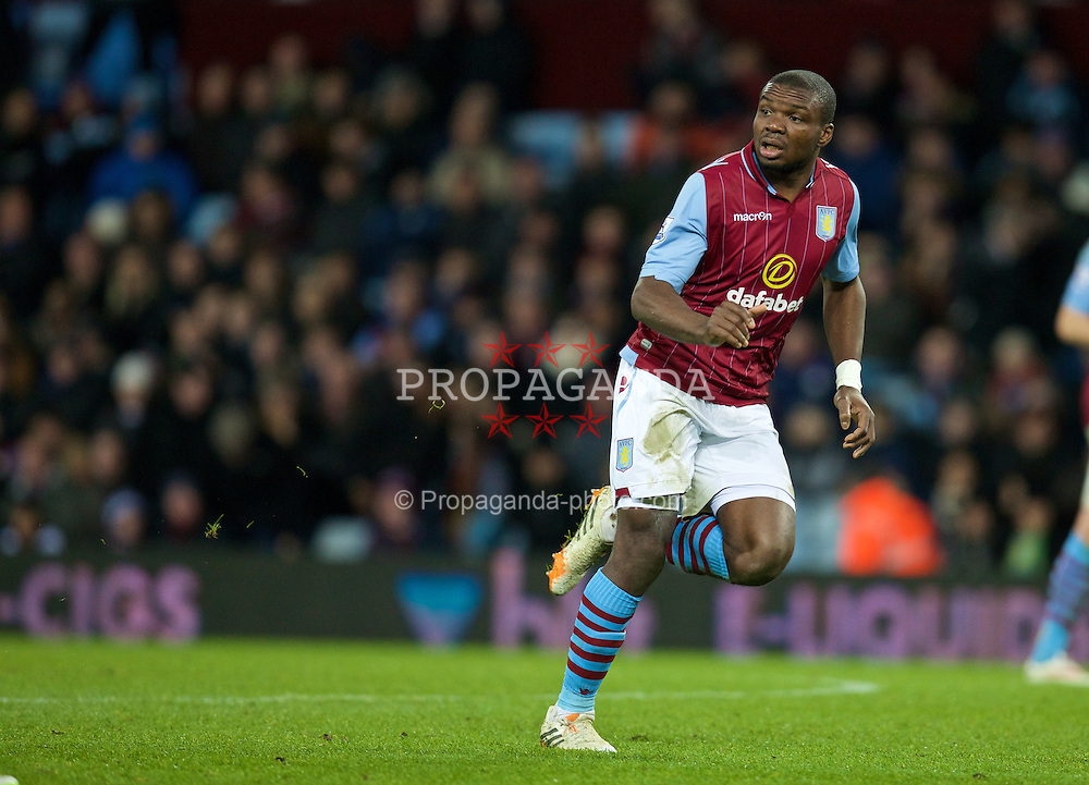 BIRMINGHAM, ENGLAND - Saturday, January 17, 2015: Aston Villa's Jores Okore in action against Liverpool during the Premier League match at Villa Park. (Pic by David Rawcliffe/Propaganda)