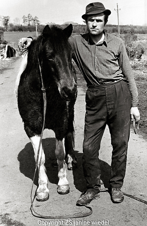 Irish Traveller man with pony in Southern Ireland.