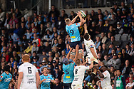 SYDNEY, AUSTRALIA - APRIL 27: Waratahs player Tom Staniforth (19) goes up for the ball at round 11 of Super Rugby between NSW Waratahs and Sharks on April 27, 2019 at Western Sydney Stadium in NSW, Australia. (Photo by Speed Media/Icon Sportswire)
