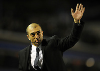 Football - FA Cup Fifth Round Replay - Birmingham vs. Chelsea<br /> Chelsea's caretaker Manager Roberto Di Matteo waves to the travelling fans following his teams win at St Andrews, Birmingham