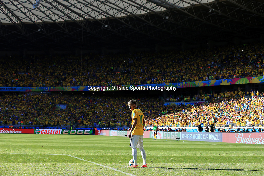 28th June 2014 - FIFA World Cup - Round of 16 - Brazil v Chile - Neymar of Brazil stands alone - Photo: Simon Stacpoole / Offside.