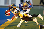 TREVOR HAGAN - Marquay McDaniel flies across the goal line at CanadInns Stadium.<br /> August 13, 2010