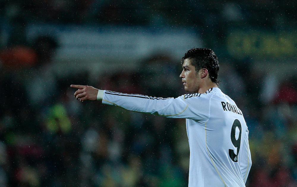 Real Madrid's Cristiano Ronaldo from Portugal, reacts during a Spanish La Liga soccer match against Getafe at the Coliseum Alfonso Perez stadium in Getafe, Spain, Thursday, March 25, 2010.