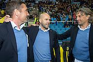ARNHEM, Vitesse - SC Heerenveen 5-2, voetbal, playoff Europa League, seizoen 2014-2015, 31-05-2015, Stadion de Gelredome, Vitesse speelt volgend seizoen in de Europa League, Vitesse coach Peter Bosz (M), Vitesse assistent-coach Hendrie Kruzen (L), Vitesse assistent-coach Rob Maas (R).