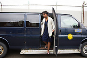 "Meroë Khalia Adeeb disembarks from a van after passing through security at Attica Correctional Facility in Attica, New York on Tuesday, July 25, 2017. The Glimmerglass Festival, an opera company in Cooperstown, New York, performed songs from George Gershwin's ""Porgy and Bess"" for inmates."