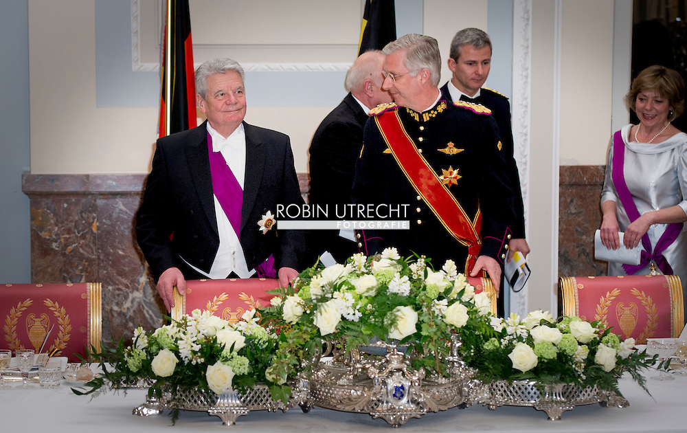 8-3- 2016 BRUSSELS - Joachim Gauck and his wife Daniela Schadt to Belgium king Filip and queen mathilde and Princess Astrid  prince lorenz and prince Laurent during the state banquet at LAEKEN CASTLE STATE VISIT OF THE PRESIDENT OF THE FEDERAL REPUBLIC OF GERMANY Joachim Gauck and his wife Daniela Schadt to Belgium king Filip and queen mathilde . copyright robin utrecht staatsbezoek <br /> BRUSSEL - Joachim Gauck en zijn vrouw Daniela Schadt naar Belgi&euml; koning Filip en Mathilde koningin tijdens de welkomstceremonie op het Paleizenplein STAAT BEZOEK VAN DE PRESIDENT VAN DE BONDSREPUBLIEK DUITSLAND Joachim Gauck en zijn vrouw Daniela Schadt naar Belgi&euml; Filip koning en koningin Mathilde. auteursrechten robin utrecht