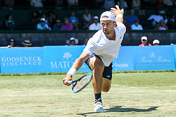 July 19, 2018 - Newport, RI, U.S. - NEWPORT, RI - JULY 19: Tim Smyczek (USA) returns to Jason Jung (TPE) during their quarterfinal match up of the Dell Technologies Hall of Fame Open at the International Tennis Hall of Fame in Newport, Rhode Island on July 19, 2018. Smyczek won the match 6-1, 5-7, 6-4 and advanced to the semifinals. (Photo by Andrew Snook/Icon Sportswire) (Credit Image: © Andrew Snook/Icon SMI via ZUMA Press)