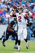 NASHVILLE, TN - OCTOBER 25:  Matt Ryan #2 of the Atlanta Falcons throws a pass during a game against the Tennessee Titans at Nissan Stadium on October 25, 2015 in Nashville, Tennessee.  The Falcons defeated the Titans 10-7.  (Photo by Wesley Hitt/Getty Images) *** Local Caption *** Matt Ryan