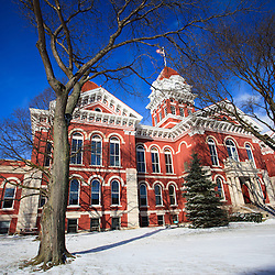 Crown Point Indiana Court House photo. The Lake County Courthouse was Built in 1878 and is nicknamed The Grand Old Lady. The courthouse architecture is Romanesque and Georgian. Today it's used for events and has a ballroom and restaurants.