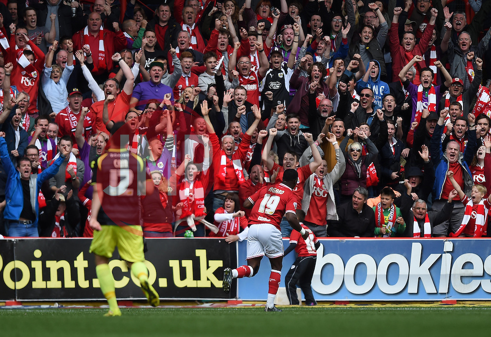Supporters celebrate Kieran Agard's goal for Bristol City - Photo mandatory by-line: Paul Knight/JMP - Mobile: 07966 386802 - 03/05/2015 - SPORT - Football - Bristol - Ashton Gate Stadium - Bristol City v Walsall - Sky Bet League One