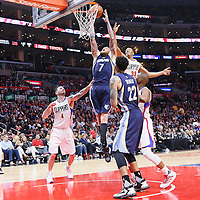 12 April 2016: Memphis Grizzlies forward Chris Andersen (7) grabs the rebound over Los Angeles Clippers forward Wesley Johnson (33) and Los Angeles Clippers guard J.J. Redick (4) during the Los Angeles Clippers 110-84 victory over the Memphis Grizzlies, at the Staples Center, Los Angeles, California, USA.