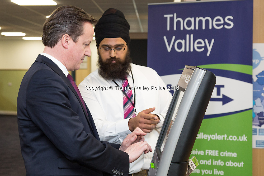 The Prime Minister visits Thames Valley Police Headquarters to open the newly refubished office block  . Kidlington, UNITED KINGDOM. February 15 2013. <br /> Photo Credit: MDOC/Thames Valley Police<br /> &copy; Thames Valley Police 2013. All Rights Reserved. See instructions.