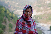 Palampur. India: Portrait of a woman on a walk from the Country Cotttages, in the Chandpur Tea Estate. The road goes into the Himalayas (Photo: Ann Summa).