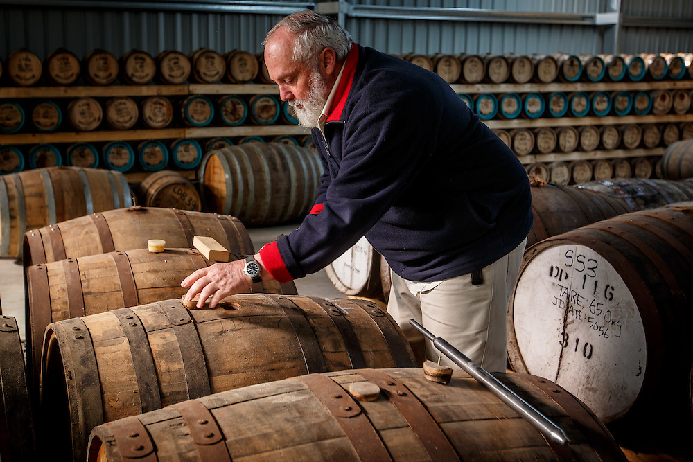 Lark Distillery founder Bill Lark samples whisky at Lark Distillery in Hobart, Tasmania, August 25, 2015. Gary He/DRAMBOX MEDIA LIBRARY