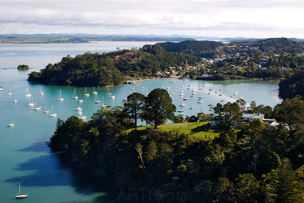 aerial view over Matauwhi Bay in Russell, Bay of Islands