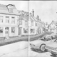 Sketchbook drawing of Storrington High Street, West Sussex, England.