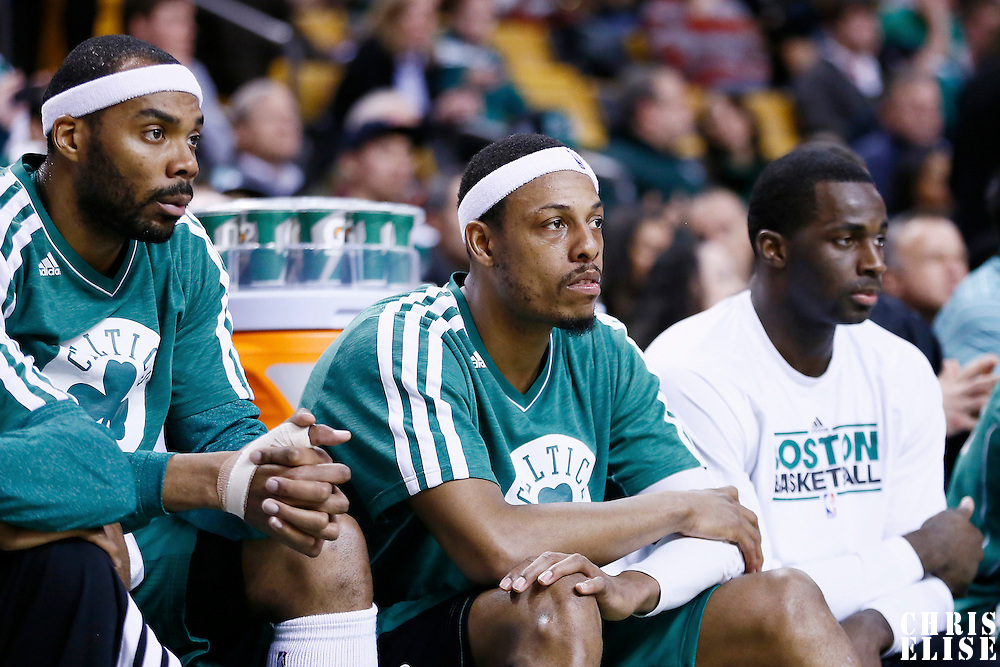 13 March 2013: Boston Celtics power forward Chris Wilcox (44), Boston Celtics small forward Paul Pierce (34) and Boston Celtics power forward Brandon Bass (30) are seen on the bench during the Boston Celtics 112-88 victory over the Toronto Raptors at the TD Garden, Boston, Massachusetts, USA.