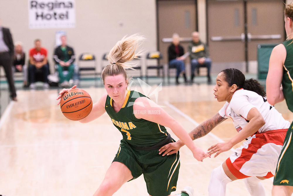 5th year guard Sara Hubenig (7) of the Regina Cougars during the Women's Basketball home game on January 27 at Centre for Kinesiology, Health and Sport. Credit: Arthur Ward/Arthur Images