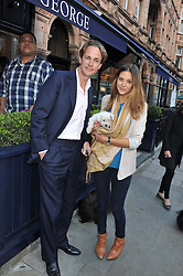 ALEX PETO and GEMMA THOMAS and their dog Lola Rose at The Dog's Trust Awards announcement held at George, 87-88 Mount Street, London on 27th March 2012.