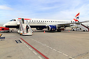 Passengers boarding British Airways CityFlyer service, Federico Garcia Lorca airport, Granada, Spain