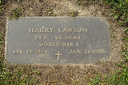 31 August 2017:   Veterans graves in Park Hill Cemetery in eastern McLean County.<br /> <br /> Harry Lawson Private US Army World War I  Apr 13 1894  Jan 21 1988