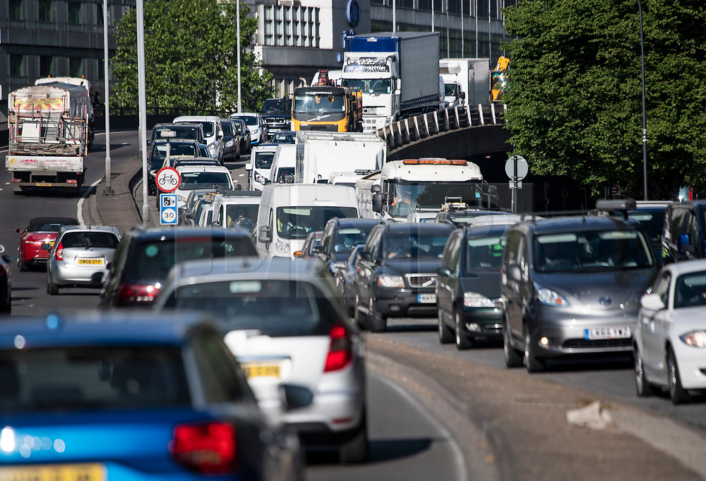 © Licensed to London News Pictures. 18/05/2020. London, UK. Traffic builds up on the A40 Westway heading in to London at rush hour, during lockdown. Government has announced a series of measures to slowly ease lockdown, which was introduced to fight the spread of the COVID-19 strain of coronavirus. Photo credit: Ben Cawthra/LNP