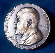 Pierre Marcellin Boule (1861-1942) French paleontologist. First reconstruction of Neanderthal skeleton (1921). Obverse of commemorative medal.