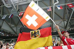20.05.2010, SAP-Arena, Mannheim, GER, 74. IIHF WM, Gruppe D, Schweiz ( SUI ) vs Deutschland ( GER ) im Bild: Two flags. One Team Germany, one team Switzerland EXPA Pictures © 2010, PhotoCredit: EXPA/ nph/   Florian Mueller / SPORTIDA PHOTO AGENCY