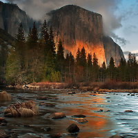 Last light on El Capitan in Yosemite National Park, California.