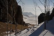 Mongolia. terelg valley in winter under snow  Ulan Baatar / la vallee de terelg sous la neige en hiver  Oulan Bator - Mongolie