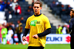 Danny Rose of Mansfield Town warms up ahead of the match wearing a 'Kick It Out' t-shirt - Mandatory by-line: Ryan Crockett/JMP - 04/05/2019 - FOOTBALL - Stadium MK - Milton Keynes, England - Milton Keynes Dons v Mansfield Town - Sky Bet League One