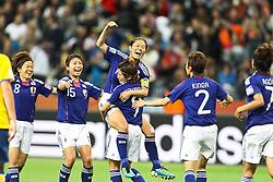 13.07.2011, Commerzbank Arena, Frankfurt, GER, FIFA Women Worldcup 2011, Halbfinale,  Japan (JPN) vs. Schweden (SWE), im Bild.Torjubel / Jubel  nach dem 2:1 durch Homare Sawa (Japan) (M) mit Saki Kumagai (Japan) und Aya Sameshima (Japan) (L) und Yukari Kinga (Japan) (R).. // during the FIFA Women´s Worldcup 2011, Semifinal, Japan vs Sweden on 2011/07/13, Commerzbank Arena, Frankfurt, Germany.   EXPA Pictures © 2011, PhotoCredit: EXPA/ nph/  Mueller       ****** out of GER / CRO  / BEL ******
