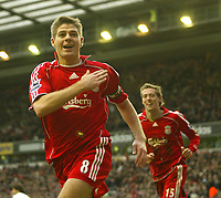 Photo: Aidan Ellis.<br /> Liverpool v Bolton Wanderers. The Barclays Premiership. 01/01/2007.<br /> Liverpool's Steven Gerrard celebrtaes scoring the second goal