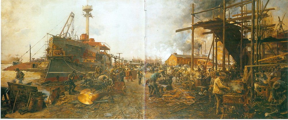 Germany: painting depicting a North German naval construction yard  c1889.
