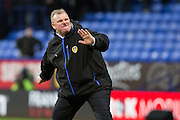 Leeds United manager Steve Evans celebrates following his sides win during the The FA Cup fourth round match between Bolton Wanderers and Leeds United at the Macron Stadium, Bolton, England on 30 January 2016. Photo by Simon Brady.