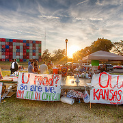 Day 5 at the Occupy KC Protest, with the IOU/USA John Salvest shipping container art display in the background.