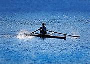 Competative rower on the Charles River, Cambridge, Massachusetts, USA.