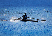 Competative rower on the Charles River, Cambridge, Massachusetts, USA.
