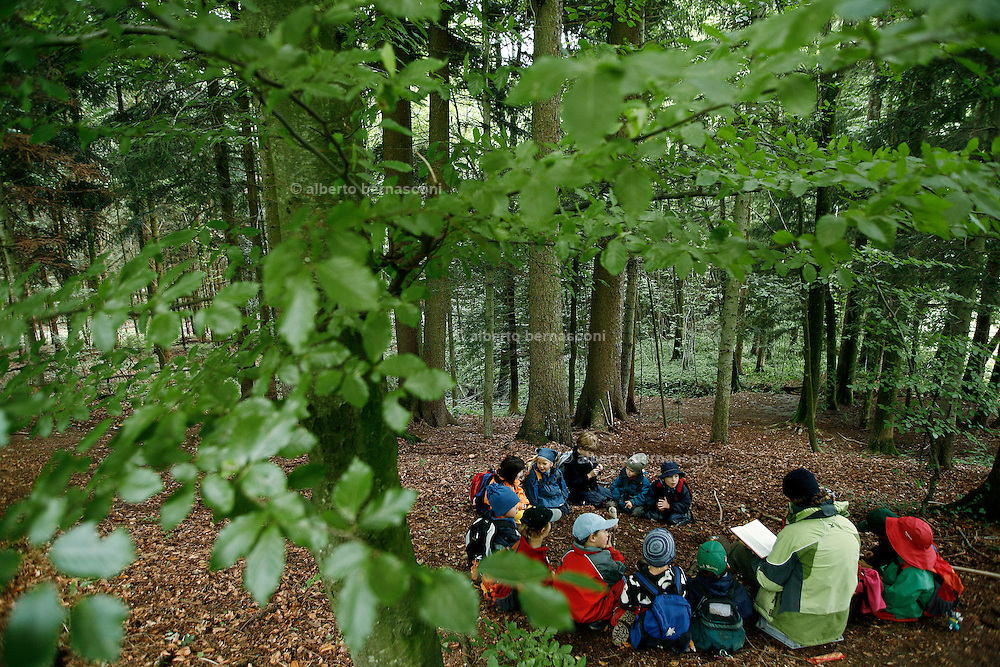Svizzera, San Gallo, asilo nel bosco , si legge una storia.....Switzerland, St. Gallen, kindergarten in the wood. Children are free to run and enjoy in the wood no matter cold or snow...telling stories in the wood...