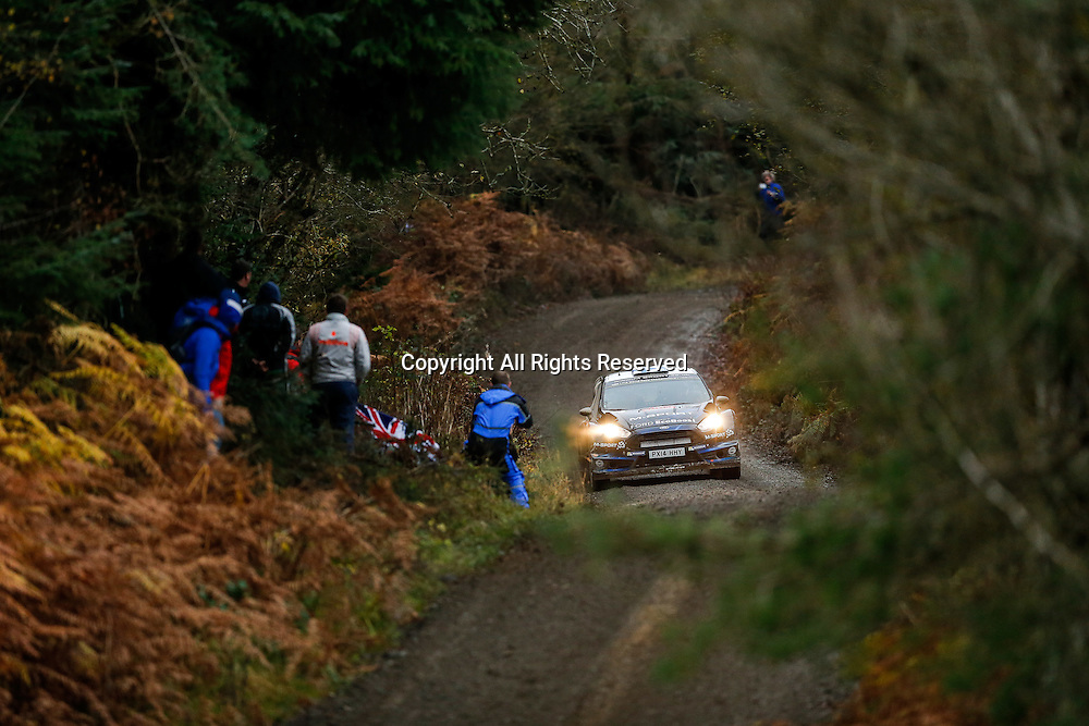 13.11.2014. Clocaenog, Wales. FIA World Rally Championship, Wales Rally GB. Mikko Hirvonen and Jarmo Lehtinen of Finland compete in the M-Sport Ford Fiesta RS WRC during the Clocaenog Forest Shakedown Stage on Day One.