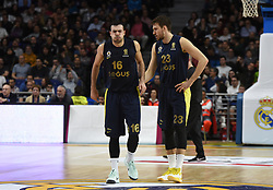 March 2, 2018 - Madrid, Madrid, Spain - Kostas Sloukas (left), #16 of Fenerbahce gestures during the 2017/2018 Turkish Airlines EuroLeague Regular Season Round 24 game between Real Madrid and Fenerbahce Dogus Istanbul at WiZink center in Madrid. (Credit Image: © Jorge Sanz/Pacific Press via ZUMA Wire)
