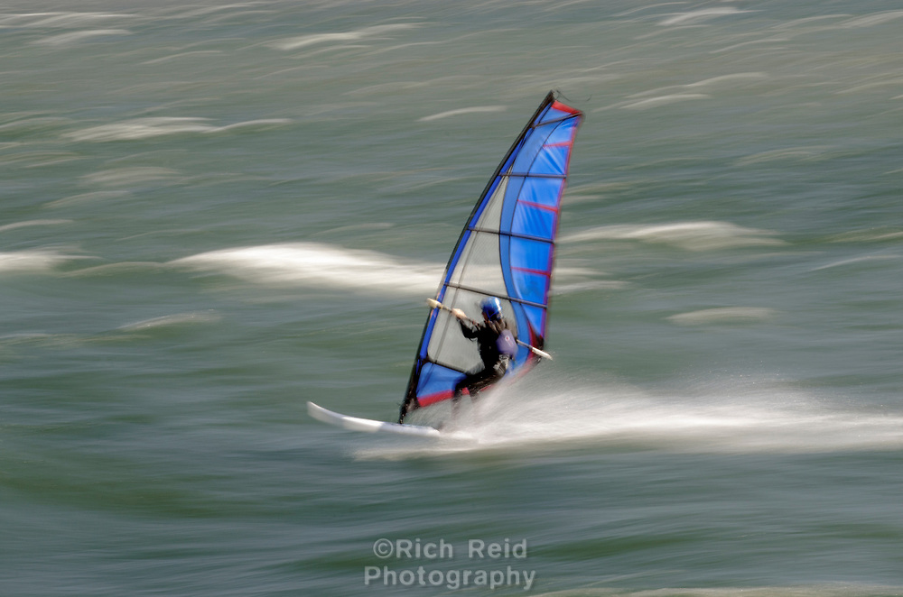 Windsurfer in the Columbia River Gorge near Hood River, Oregon.