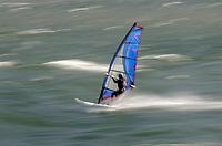 Windsurfer in the Columbia River Gorge near Hood River, Oregon.