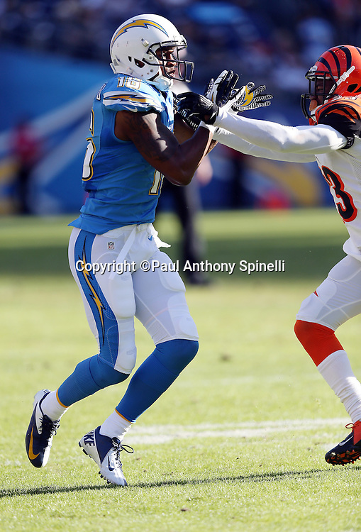 San Diego Chargers wide receiver Seyi Ajirotutu (16) goes out for a pass against bump pass coverage during the NFL week 13 football game against the Cincinnati Bengals on Sunday, Dec. 1, 2013 in San Diego. The Bengals won the game 17-10. ©Paul Anthony Spinelli