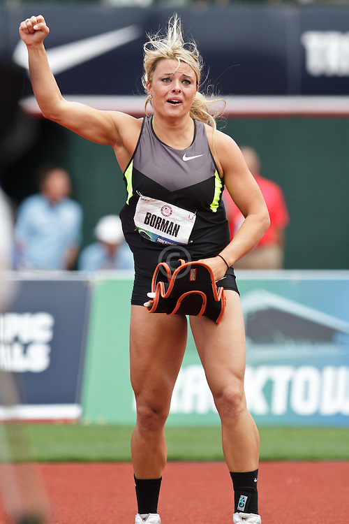 Olympic Trials Eugene 2012: women's Javelin, Brittany Borman reacts to huge throw to win