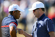 Tiger Woods (Usa) and Zach Johnson during the practice round of Ryder Cup 2018, at Golf National in Saint-Quentin-en-Yvelines, France, September 27, 2018 - Photo Philippe Millereau / KMSP / ProSportsImages / DPPI